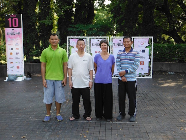 13 Mr Deng Wenping with the author and two local students